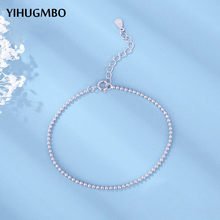 YIHUGMBO Elegant Beads Chain Bracelets for Women 100% 925 Sterling Silver Wedding Statement Charm Bracelets Bangles Wholesale(China)