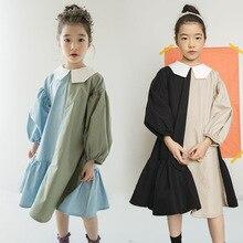 2021 봄 소녀 드레스 두 가지 색상 패치 워크 어린이 면화 드레스 아기 공주 드레스 성격 유아 주름 드레스, #3796