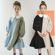 2021 Spring Girls Dress Two Colors Patchwork Children Cotton Dress Baby Princess Dress Personality Toddler Ruffles Dress,#3796