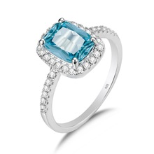 Szjinao Sky Blue Aquamarine Ring 925 Silver 14k White Gold Jewelry For Women Vintage Gemstones Rings With Diamond Party Anillos