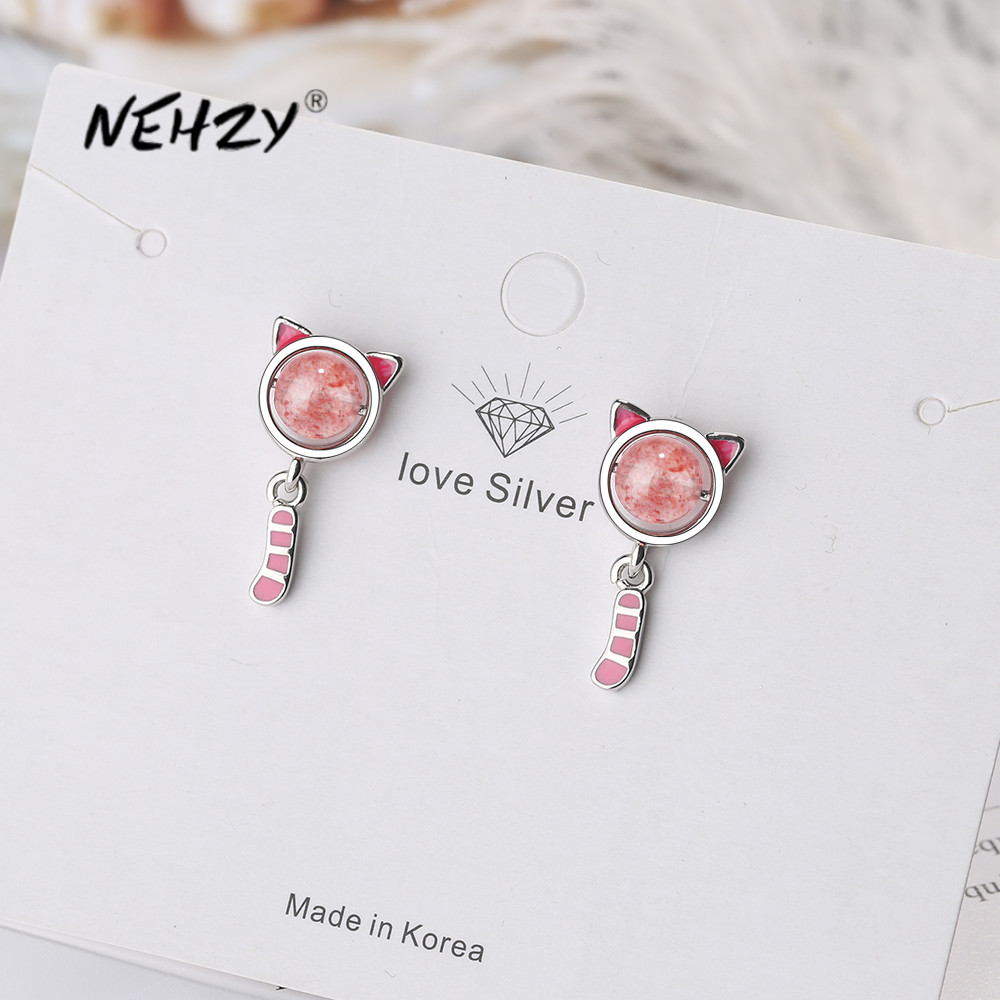 Nehzy925 Sterling Silver 2021 New Woman Fashion Jewelry High Quality Crystal Zircon Simple Pink Kitten Earrings Flash Sale 724e Rounders