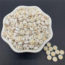 100 pçs/lote 7mm Espaçados de Ouro Forma Oval Acrílica Contas Sorriso-Face Contas Para Fazer Jóias DIY Encantos Pulseira Colar