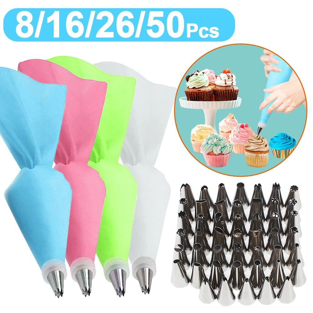 8/16/26/50 pçs silicone saco de pastelaria dicas cozinha diy bolo de gelo piping creme decorar ferramenta reutilizável saco de pastelaria + bocal inoxidável