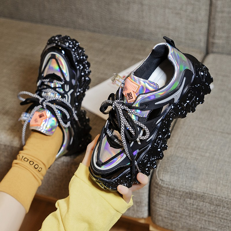 2020 Designers Chunky Sneakers Platform Silver INS Fashion Women Lace Up Casual Shoes Brand Woman Sports Trainers Old Dad Shoes