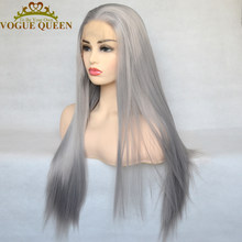 Vogue Queen Sliver Grey Synthetic Lace Front Wig Long Straight High Temperature Fiber Daily Wear For Women