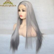 Peluca con malla frontal para mujer, peluca con malla frontal, larga, recta, fibra de alta temperatura, color gris plateado, para uso diario