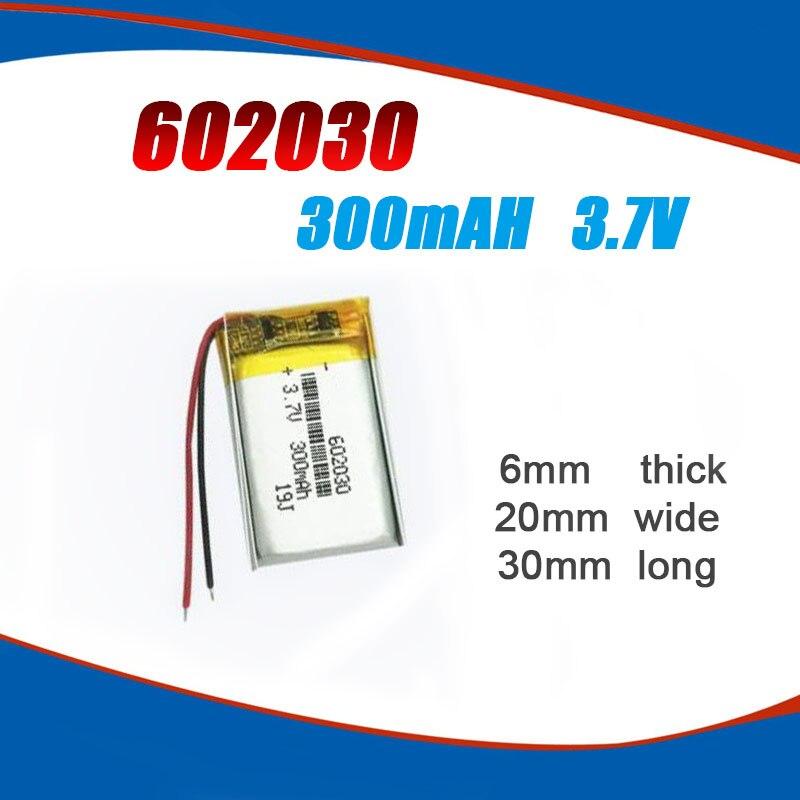 602030 300mAh 3,7 V литиевая полимерная аккумуляторная батарея для Bluetooth колонки MP3 MP4 Смарт-часы беспроводная карта селфи-палка