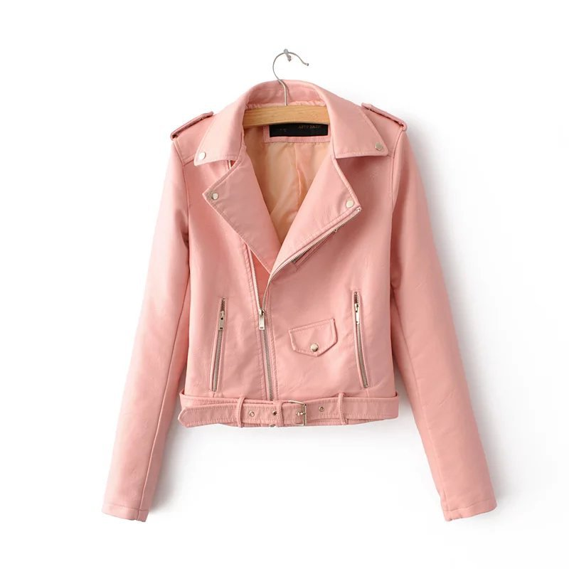 2019 Spring Bright Yellow Women Pu Leather Jackets Zipper Leather Coat Turn-down Collar Female Pu Jackets Pink Black Color 4