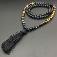 8mm Tigers Eye, Hematite, JapaMala Necklace, Namaste Yoga Jewelry, Chakra Stones Mala, Buddhist Mala Prayer Bead, 108 Mala Beads(China)