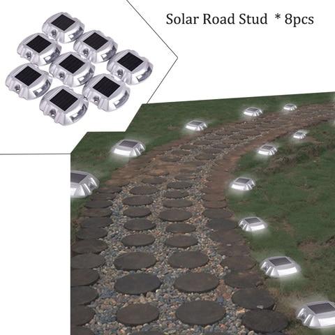 8 pacote de energia solar branca luzes led estrada luz a prova dwaterproof agua jardim