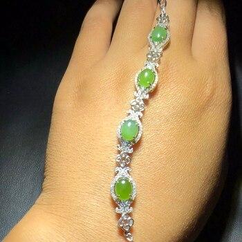 Fine Jewelry Real 925 Steling Silver s925 100% Natural Green Jasper Gemstone Leopard Unisex Bracelets Christmas Gift