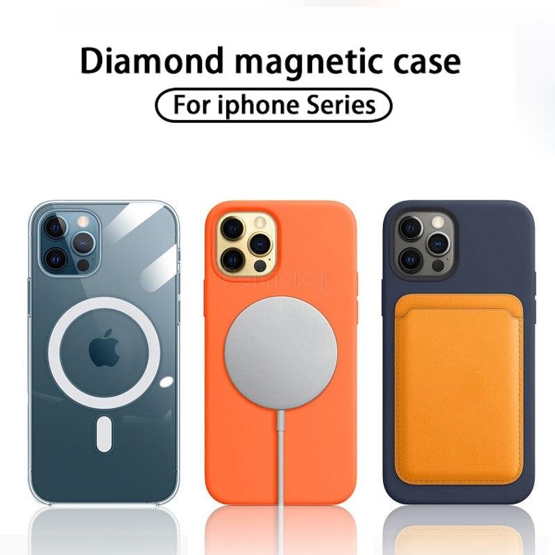 Магнитный чехол для iPhone 12 11 Pro Mini X XR XS Max, противоударный защитный чехол для беспроводного зарядного устройства MagSafing с полной защитой