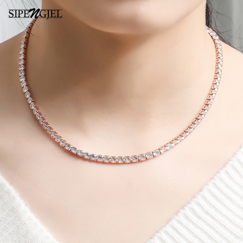 SIPENGJEL Fashion 4mm crystal Chain Necklace Geometric Exquisite Tennis Choker Necklace For Women Statement Jewelry 2021