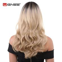 Wignee Synthetic Wig For Women High Density Heat Resistant Natural Brown Blonde Daily Of Middle Part Fake Wave  Long Hair Wig fashion long side bang synthetic shaggy natural wave brown adiors wig for women