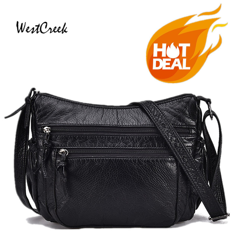 WESTCREEK Brand PU Leather Women Messenger Bag Small Flap Lady Crossbody Bag Handbag Black
