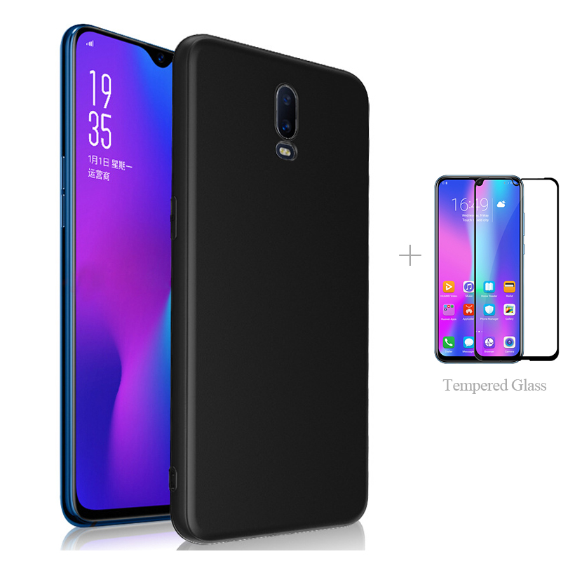 Matte Back Cover <font><b>Case</b></font> + Full Cover Tempered Glass For <font><b>OPPO</b></font> F11 Pro F9 <font><b>A9</b></font> <font><b>2020</b></font> A7 <font><b>A5</b></font> A5S A3 A3S A1K Rx17 Neo Ax7 Reno2 Z F Reno 2 image