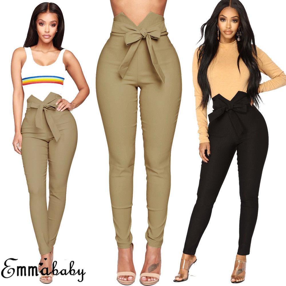 Pantalones Pitillo De Talle Alto Informales Con Lazo Atado A La Cintura