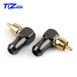 Image 5 - RCA Connector Male L type 90 degree Curved RCA Right Angle Elbow Converter RCA Plug Gold Plated Solder Wire Audio Adapter