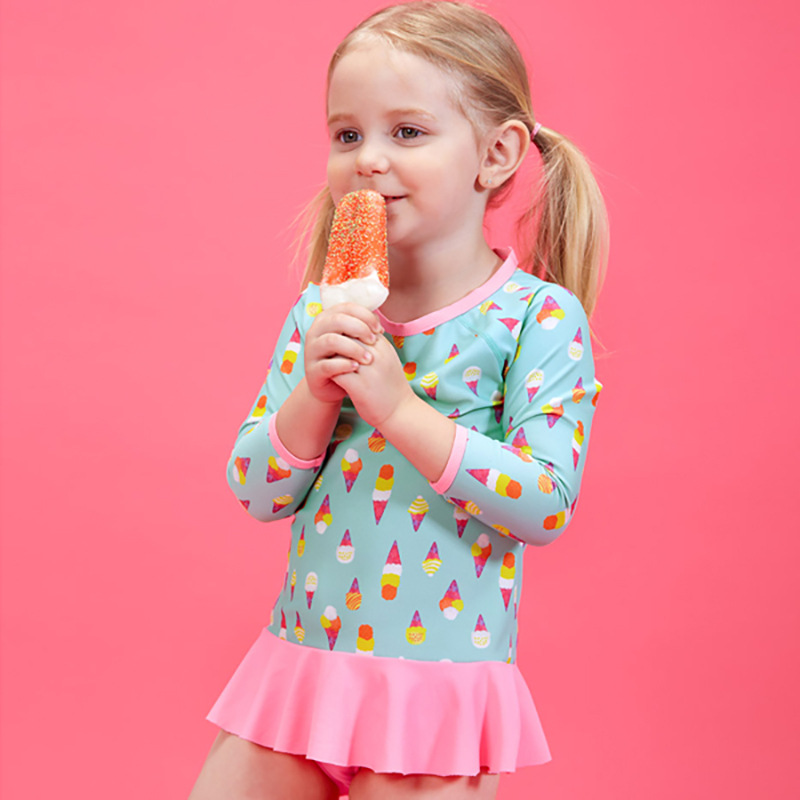 CHILDREN'S Swimwear Foreign Trade Export Medium-small Girls Large GIRL'S Princess Students Split Type Boxer Long Sleeve Sun-resi