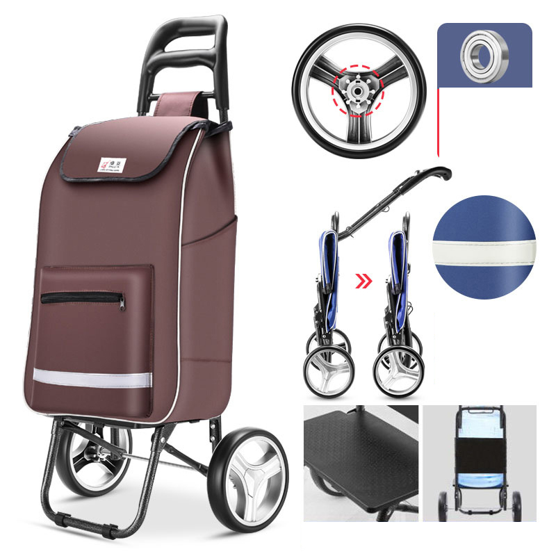 Trolley Cart Stairs Elderly Shopping Cart Wheel Woman Shopping Basket Household Shopping Bags Trolley Trailer Portable Foldable