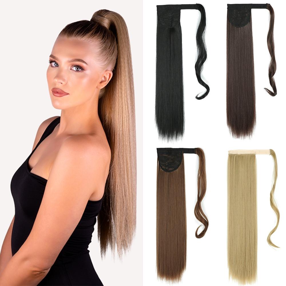 Длинные прямые синтетические накладные волосы AZIR с зажимом для конского хвоста, натуральный хвост, головной убор, коричневые искусственные...