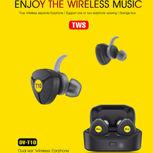 Ovleng t10 tws 5.0 bluetooth fone de ouvido 3d estéreo sem fio com microfone duplo para iphone samsung huawei google telefone