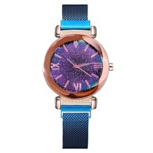Luxury  Fashion Simple Starry Dial Stainless Steel Mesh Belt Sky Watch Ladies Geometric Surface Roman Quartz