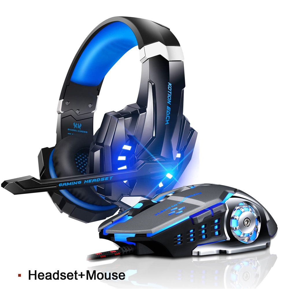EACH G9000 Stereo Gaming Headset for PS4 Deep Bass Computer Game Headphones Earphone with LED Light Mic+3200PDI Pro Gaming Mouse image