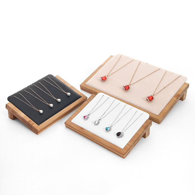Bamboo Wood Velvet/PU Leather Necklace Pendant Display Stand Holder Women Jewelry Display Rack Holder Storage Case 30*20.5cm