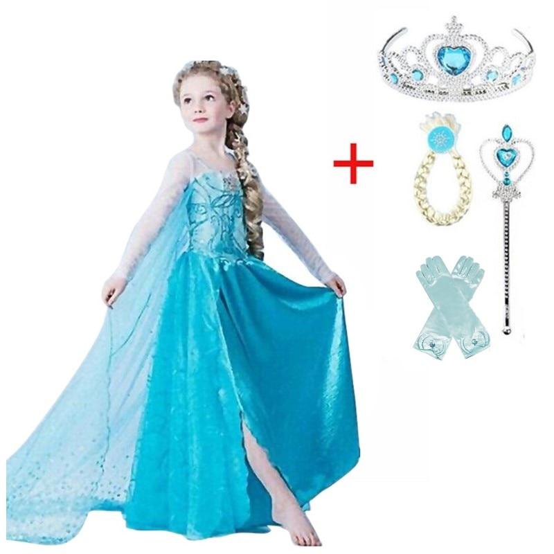 Baby Girls Princess Anna Elsa Dress Halloween Christmas Party Cosplay Costume Elsa Dresses For Girl Fancy Ball Dress Vestido