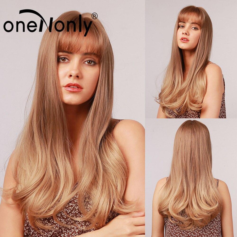 OneNonly uzun Ombre kahverengi sarışın doğal dalga sentetik peruk patlama ile Cosplay peruk kadınlar için parti günlük doğal isıya dayanıklı