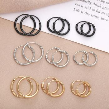 Gold Hoop Earring for Women Fashion Black Silver Color Punk Ear Rings Men Circle Earrings Hoops Hip Hop Jewelry Unisex fashion crystal round hoop earring hip hop punk stud earring for women gold color colorful jewelry gifts wholesale