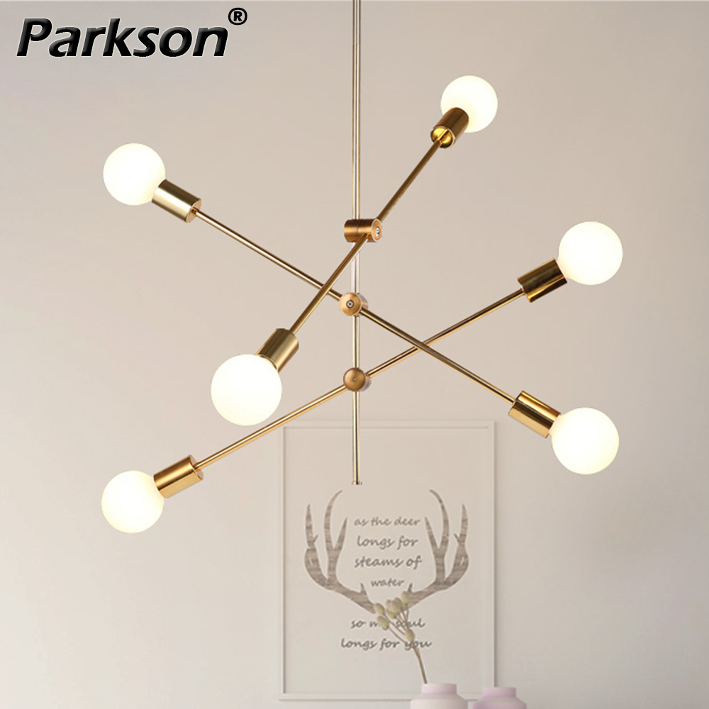 Modern Hanging Ceiling Lamps Nordic Pendant Lights AC 85-265V E27 Gold Black Long Pole Designer Pedant Lamps Lighting