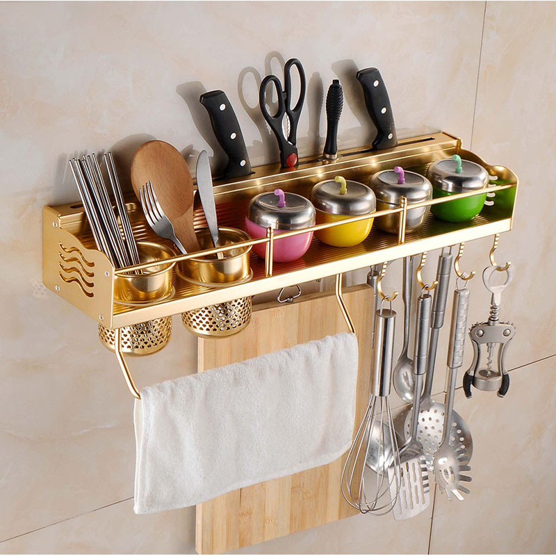 Multifunctional Kitchen Bookshelf Bottle Rack Cutlery Blocks Hanger Hooks Organizers Space Aluminum Wall Mounted Pot Pan Rack