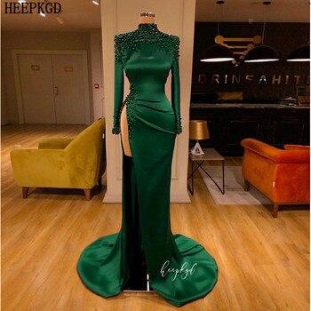 Изумрудно зеленое арабское вечернее платье с длинным рукавом, с высоким разрезом, сексуальное платье для выпускного вечера, шикарный с бисе
