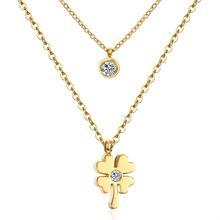 Pendant Necklace Butterfly-Flower Stainless-Steel Jewelry Chain Choker Gold/steel Women