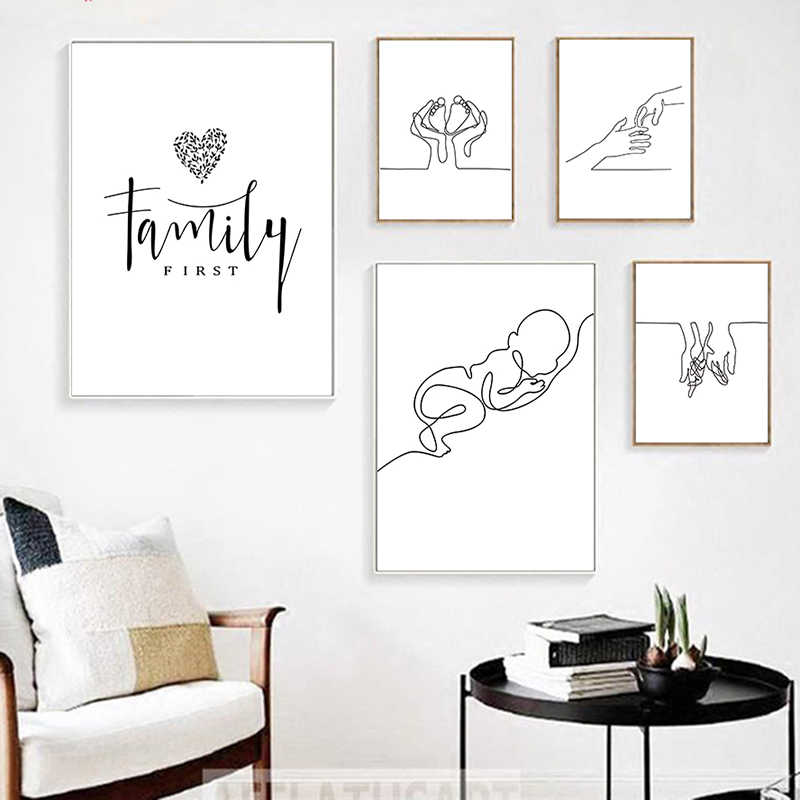 Geomtric Line Drawing Picture Home Decor Nordic Canvas Painting Wall Art Figure Family Love Modern Posters and Print for Bedroom