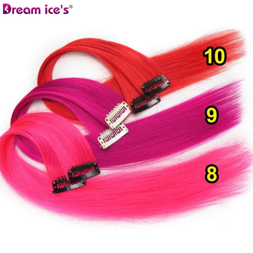 Clip In Synthetisch Haar Uitbreiding Lange Rechte Rainbow Kleur Nep Haarstuk Extensions Op Clips Een Stuk Droom Ijs 'S