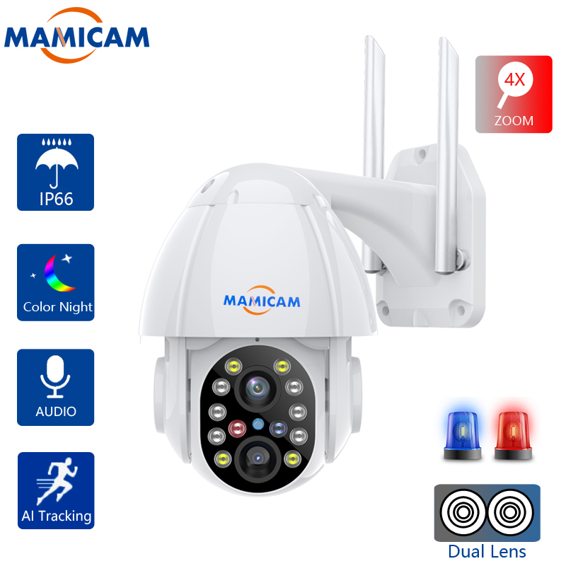 Wifi IP Camera Outdoor Video Surveillance Recorder PTZ 4XZOOM Dual Lens Auto Tracking CCTV Security System 2.8mm-12mm Onvif