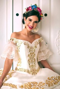 Image 3 - New Charro Quinceanera Dresses 2020 Off Shoulder Puffy Skirt Ruffled Gold Embroidery Beads Princess Sweety 16 Dress