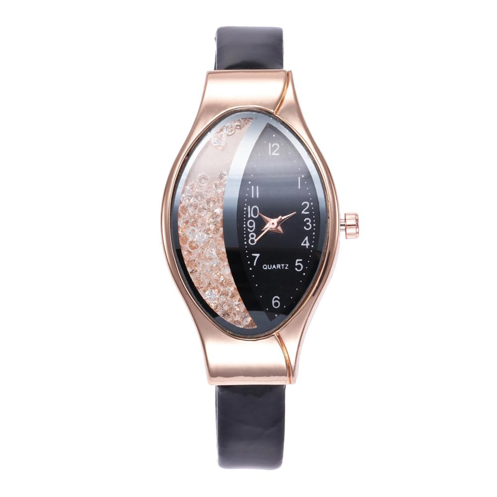 Crea-tive Women Oval Dial Quicksand Decor Analog Faux Leather Quartz Wrist Watch Ladies Dress Watches Gift Luxury