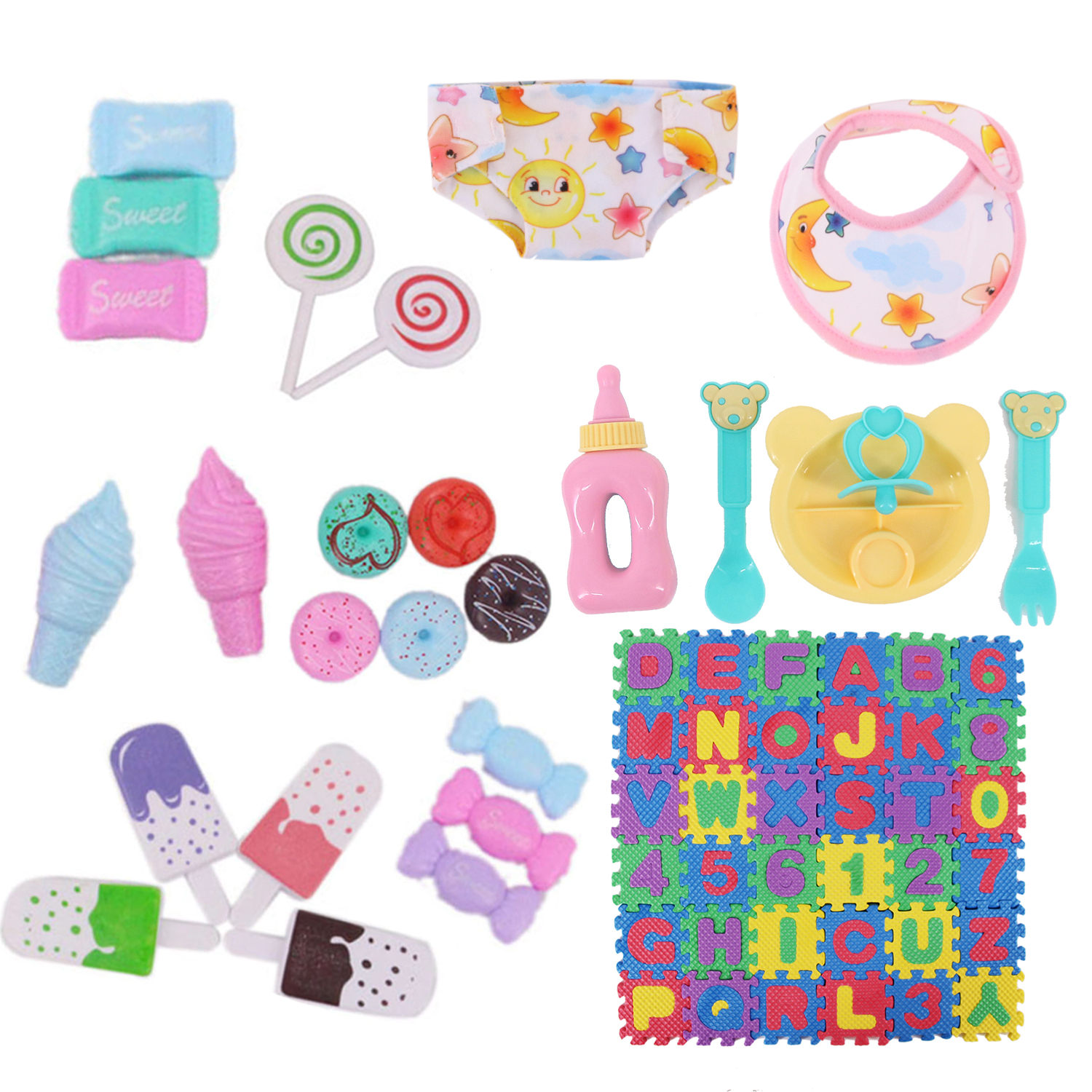 Doll Clothes Mini Play Toy Blanket Food Candy Bowel Nipple For 18 Inch American Of Girl&43Cm Baby New Born Doll Our Generation-3