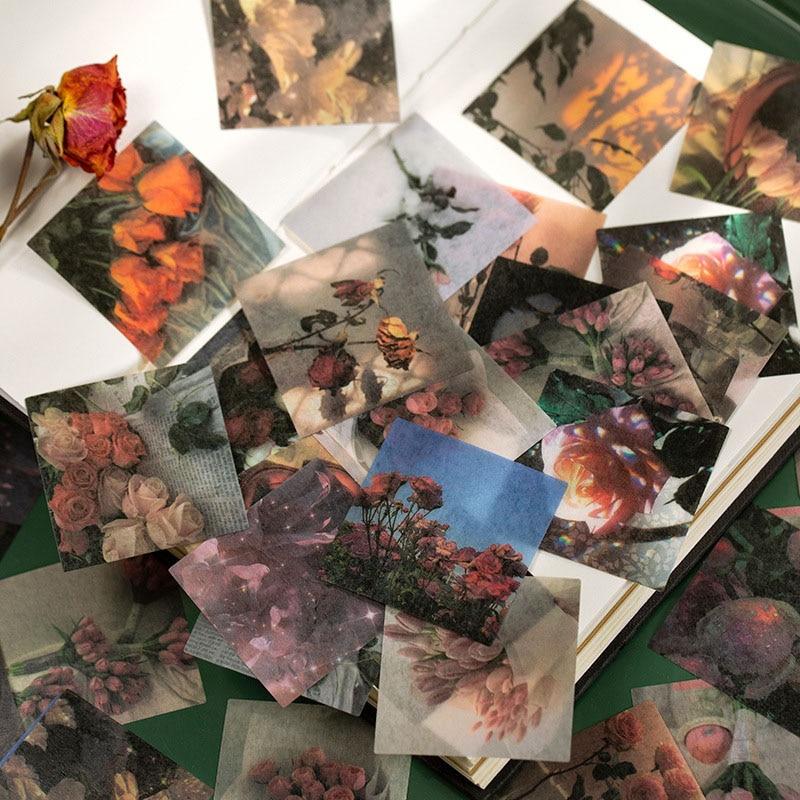 40 Pcs/Pack Journal Sticker Ins Travel Scenery Decorative Adhesive Sticker Washi Masking Tape Diary Stationary Supplies