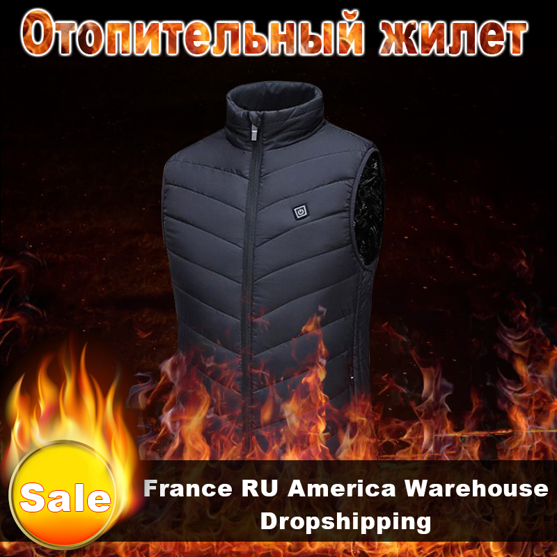 Heating Vest USB Infrared Men Heating Waistcoat Thermal Warm  Vest Jacket Control Temperature Outdoor Fishing Hiking Dropship