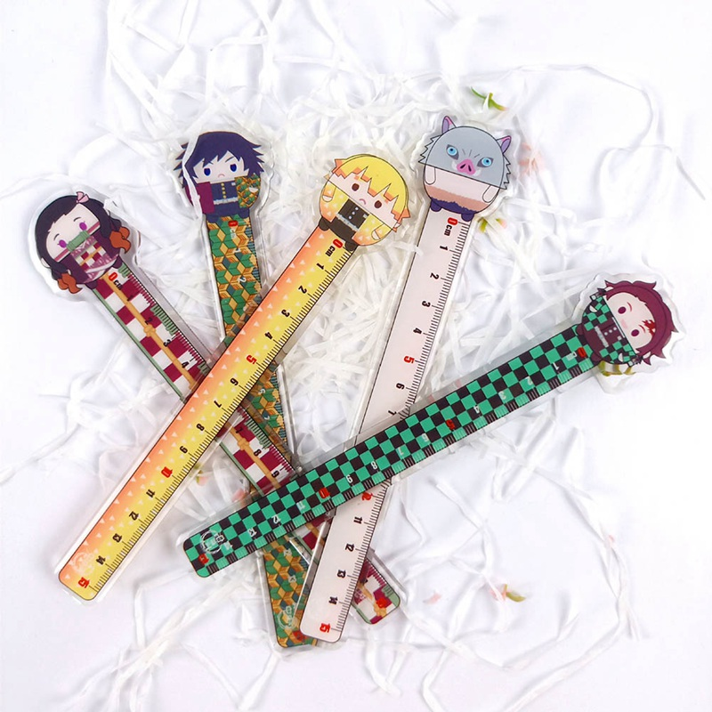 Anime Demon Slayer: Kimetsu No Yaiba Kamado Tanjirou Cosplay Plastic Ruler Measuring Scale Students Cartoon Measure Ruler Gift