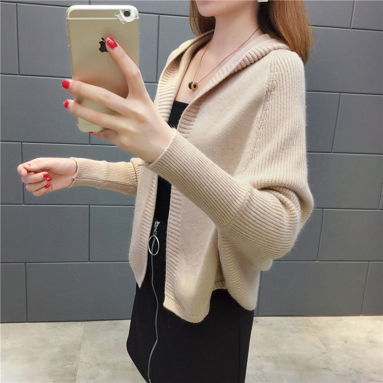 2019 Free send New style Korean loose and comfortable Autumn women Cardigan Sleeve of bat Hooded Sweater coat 121