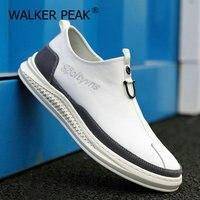 2021 neue Herren Leder Casual Schuhe Weiß Tenis Schuhe für Männer Mode Komfortable Herbst Männlichen Wohnungen Slip on Mann Loafers schuh