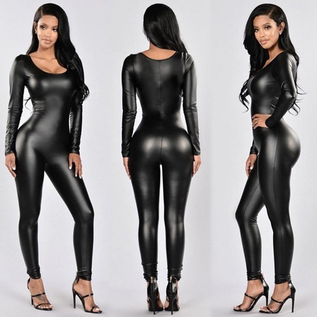 Sexy Lingerie Women Leather Zipper Sexy Underwear Elastic Tight Bodysuit Porn Lenceria Babydoll Bar Clubwear Hot Erotic Costumes