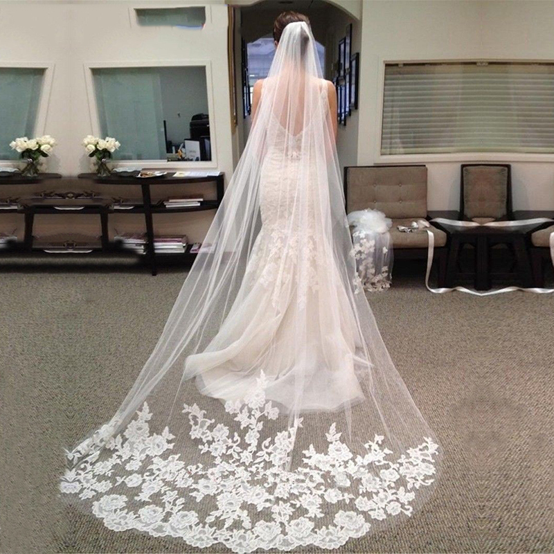 3 M Long Wedding Veil 2020 Cheap White Ivory Appliques Edge Bride Veils With Comb Velos De Novia Accessories Veu De Noiva Longo