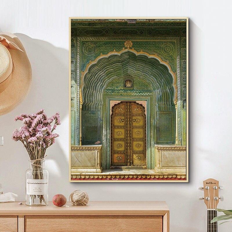 Плакаты и принты в скандинавском стиле с изображением зеленой двери, Современное украшение для дома, модульные настенные картины для гости...